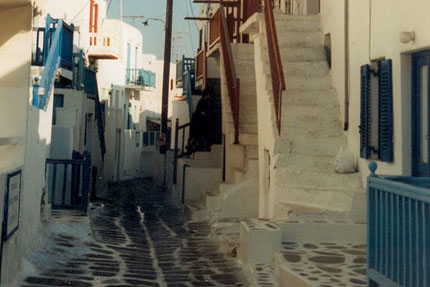 Gasse in Mykonos Stadt September 1997