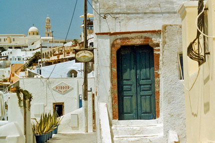Scirocco Appartments in Fira auf Santorin Juni 2003